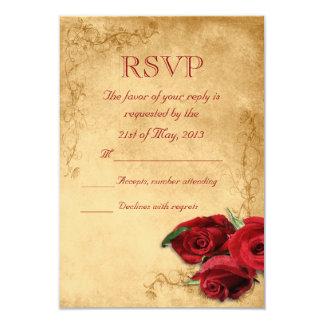 """Vintage Caramel Brown & Rose Wedding RSVP 3.5"""" X 5"""" Invitation Card"""
