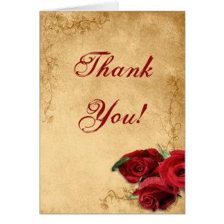 Vintage Caramel Brown & Rose Wedding Thank You Note Card
