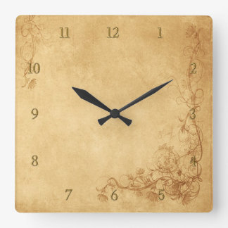 Vintage Caramel Brown Square Wall Clock