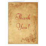 Vintage Caramel Brown Thank You Greeting Cards