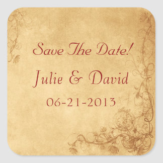 Vintage Caramel Brown Wedding Save The Date Stickers