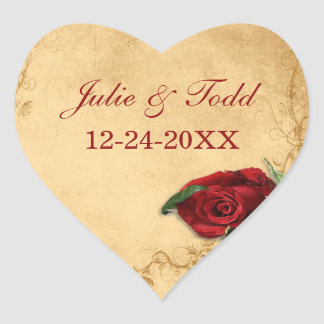 Vintage Caramel  Rose Save The Date Wedding Heart Sticker
