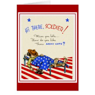 Vintage Card Best Wishes To Soldier Boyfriend Greeting Card
