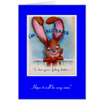 Vintage Card Get Well Bunny Ears