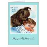 Vintage Card Get Well Puppy And Baby