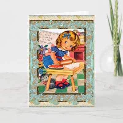 Vintage Card Happy Birthday To Little Girl by Zazzle_Vi