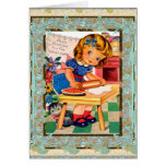 Vintage Card Happy Birthday To Little Girl Greeting Card