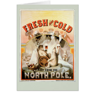Vintage Card, Lager Beer Polar Bears, North Pole Card