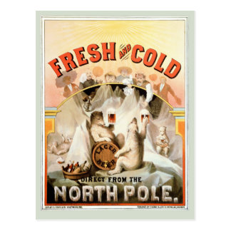 Vintage Card, Lager Beer Polar Bears, North Pole Postcard