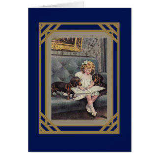 Vintage Card Little Girl Reading To Dogs