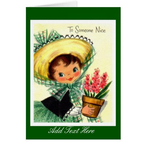 """Vintage Card Little Girl """"To Someone Nice"""""""