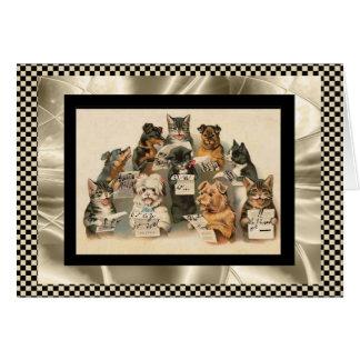 Vintage Card Singing Dog & Cat Choir Best Wishes