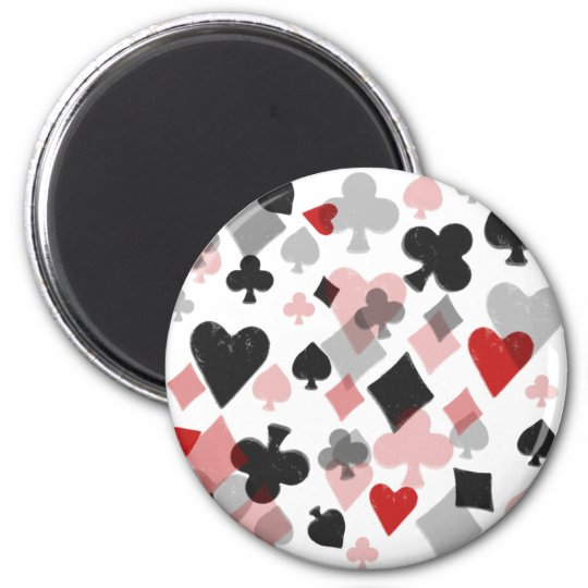 Vintage Card Suit Collage - Red & Black 2 Inch Round Magnet