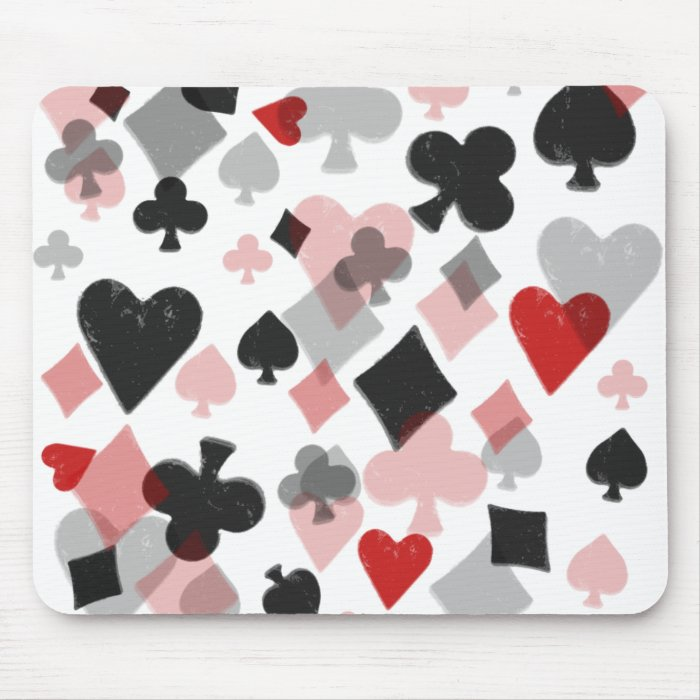 Vintage Card Suit Collage - Red & Black Mouse Pad