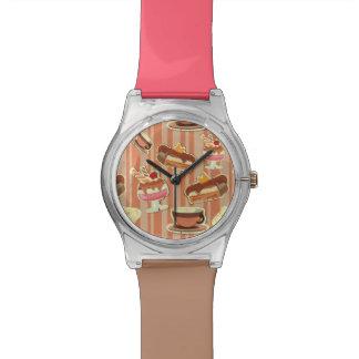 Vintage Card With A Strawberry Dessert Wristwatch