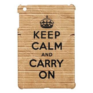 Vintage cardboard keep calm and carry on iPad mini covers