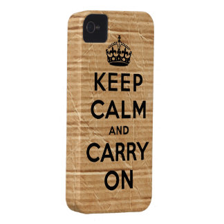 Vintage cardboard keep calm and carry on iPhone 4 case
