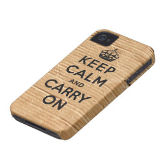 Vintage cardboard keep calm and carry on iPhone 4 Case-Mate case