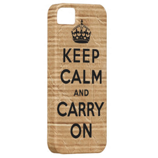 Vintage cardboard keep calm and carry on iPhone SE/5/5s case