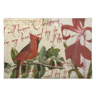 Vintage Cardinal and Flora | Holiday Placemats