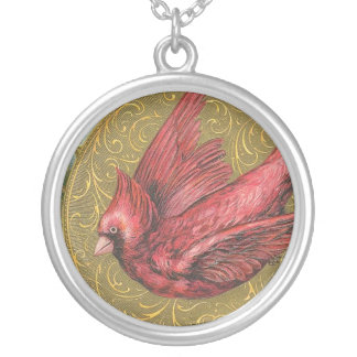 Vintage Cardinal Silver Plated Necklace