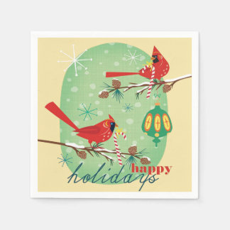 Vintage Cardinals on Snowy Pine Tree Branches Napkin