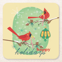 Vintage Cardinals on Snowy Pine Tree Branches Square Paper Coaster