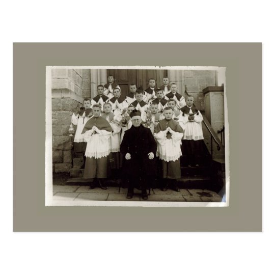 Vintage Cards - Catholic church Priest and boys