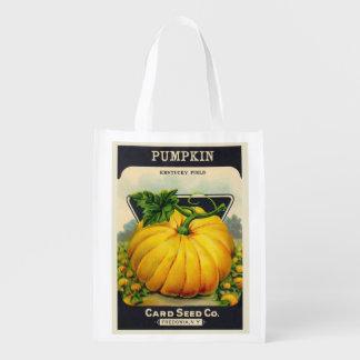 Vintage Card's Pumpkin Seed Package Reusable Grocery Bag