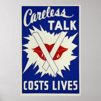 Vintage Careless Talk Costs Lives Poster