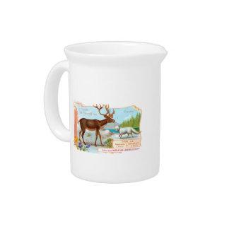 Vintage Caribou (Reindeer) and Arctic Fox Drink Pitcher