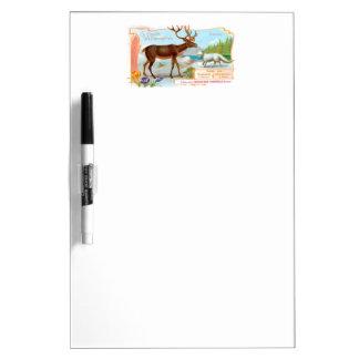 Vintage Caribou (Reindeer) and Arctic Fox Dry Erase Board