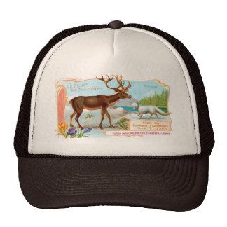 Vintage Caribou (Reindeer) and Arctic Fox Mesh Hat