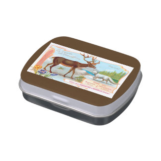 Vintage Caribou (Reindeer) and Arctic Fox Jelly Belly Tin