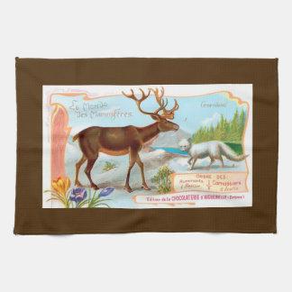 Vintage Caribou (Reindeer) and Arctic Fox Kitchen Towels
