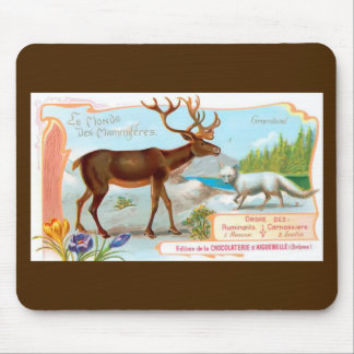 Vintage Caribou (Reindeer) and Arctic Fox Mouse Pad