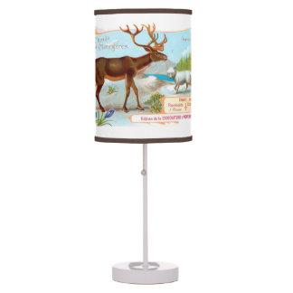 Vintage Caribou (Reindeer) and Arctic Fox Table Lamp