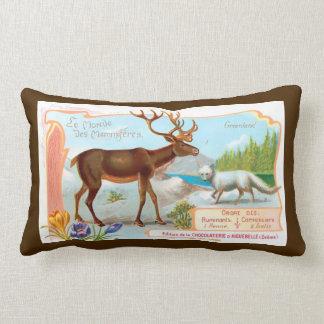 Vintage Caribou (Reindeer) and Arctic Fox Throw Pillow