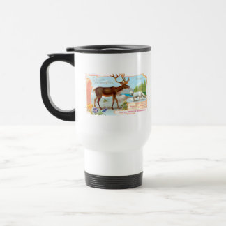 Vintage Caribou (Reindeer) and Arctic Fox Travel Mug