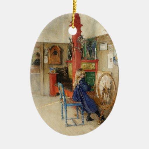Vintage Carl Larsson: Bella arte de la rueda de hi Adornos De Navidad
