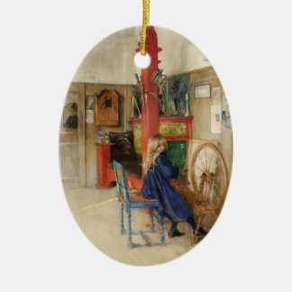 Vintage Carl Larsson: Spinning Wheel Fine Art Double-Sided Oval Ceramic Christmas Ornament
