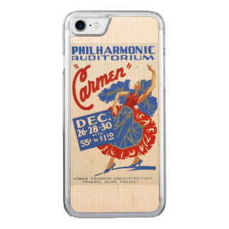 """Vintage """"Carmen"""" Performing Arts WPA Poster Carved iPhone 7 Case"""