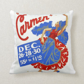 "Vintage ""Carmen"" Performing Arts WPA Poster Throw Pillow"