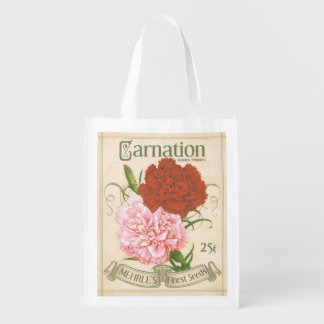 Vintage Carnation Seed Packet, grocery bag