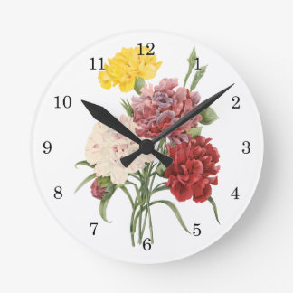 Vintage Carnations Dianthus Garden Flowers Redoute Round Wall Clocks