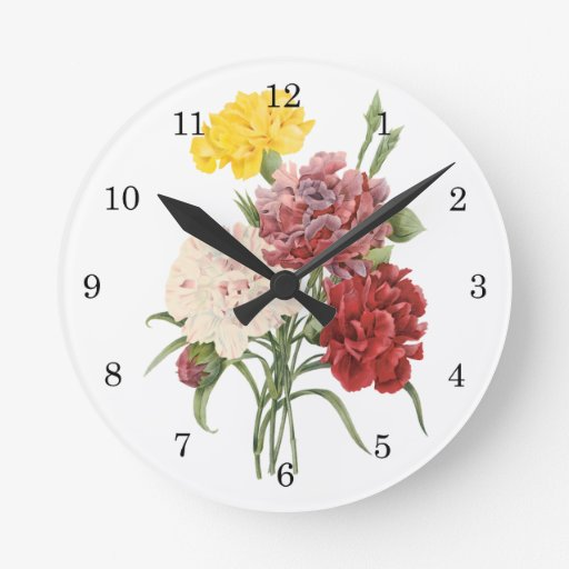 Vintage Carnations Dianthus Garden Flowers Redoute Wall Clocks