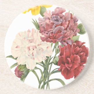 Vintage Carnations Dianthus Garden Flowers Redoute Coaster