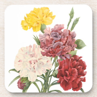 Vintage Carnations Dianthus Garden Flowers Redoute Drink Coaster