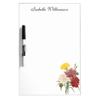 Vintage Carnations Dianthus Garden Flowers Redoute Dry-Erase Boards