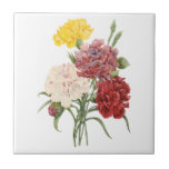 Vintage Carnations Dianthus Garden Flowers Redoute Small Square Tile